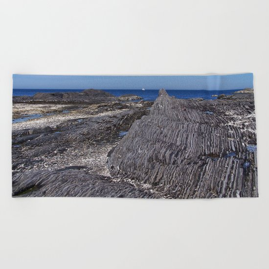 Rock Layers and the Sea Beach Towel