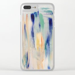 Calm blue fire: minimal, acrylic abstract art in indigo, teal and rose gold / Original Painting Clear iPhone Case