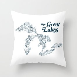 The Greatest Lakes Throw Pillow