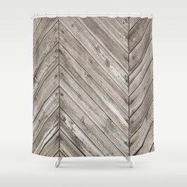 Herringbone Weathered Wood Texture Shower Curtain