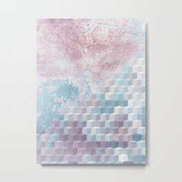 Distressed Cube Pattern - Pink and blue Metal Print