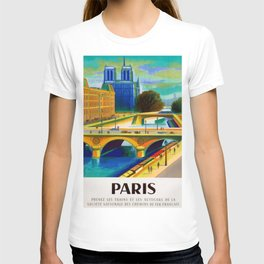 Vintage 1957 Paris River Seine & Notre-Dame Cathedral Travel Advertising Poster by Jacques Garamond T-shirt