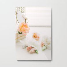 Flowers and Birdcage Metal Print