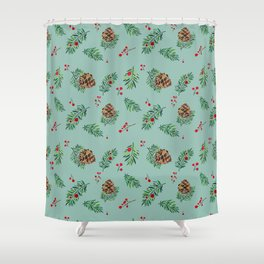 Winter Pinecones and Holly Berries / Watercolor Pattern Shower Curtain