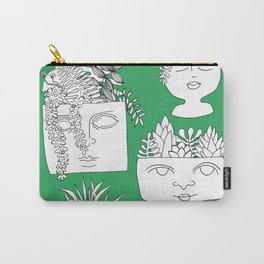 Illustrated Plant Faces in Kelly Green Carry-All Pouch