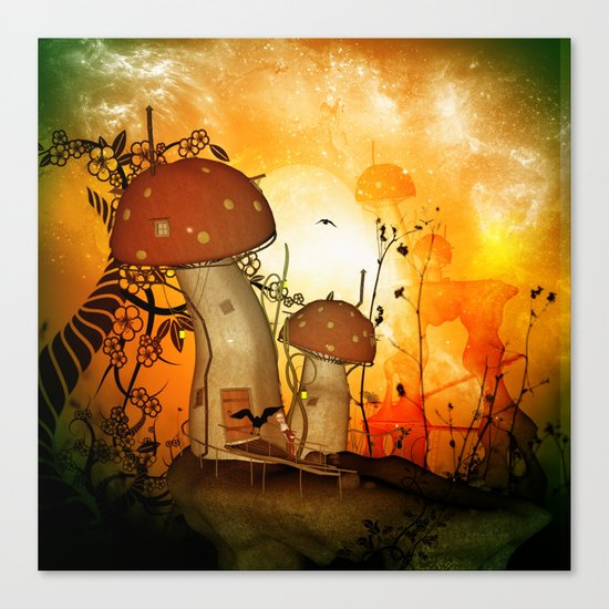 The fairy house in the night Canvas Print