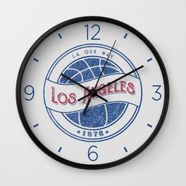 Los Angeles basketball white vintage logo Wall Clock