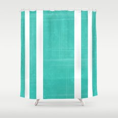 distressed football stripes jade shower curtain
