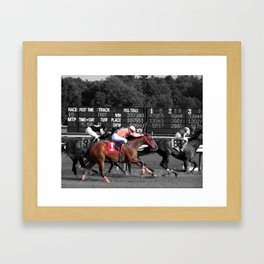 Race horses Framed Art Print