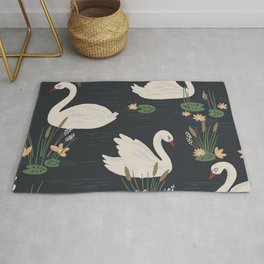Swan Pond Dark Water Lily Pad Lotus Flowers Rug
