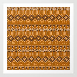 Mudcloth Style 2 in Burnt Orange and Brown Art Print