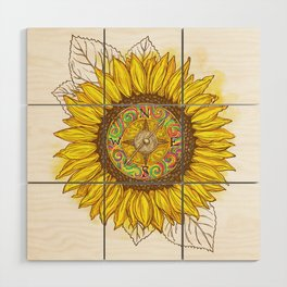 Sunflower Compass Wood Wall Art