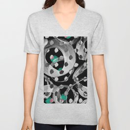 Abstract black white green watercolor brushstrokes Unisex V-Neck