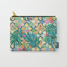 Gilded Moroccan Mosaic Tiles with Palm Leaves Carry-All Pouch