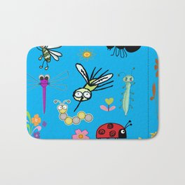 Adorable Bugs and Flowers on Blue Background Bath Mat