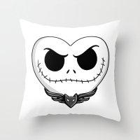 jack skellington Throw Pillows featuring Jack Skellington Heart Art by Sam Skyler