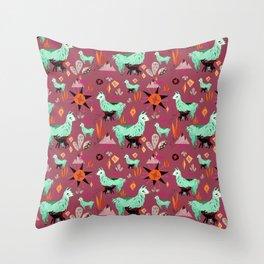 Llama At Dusk pattern Throw Pillow