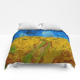 Wheatfield with Crows Oil Painting by Vincent van Gogh Comforters
