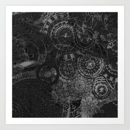 Distressed Ink Multi Mandala Graphic Design Art Print
