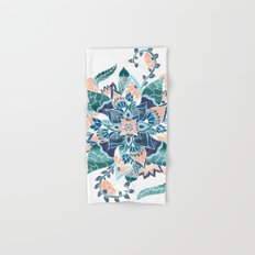 Modern coral blue watercolor floral illustration  Hand & Bath Towel