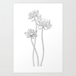 Lotus line art Art Print