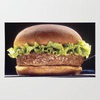 hamburger Area & Throw Rugs featuring Juicy Hamburger by BravuraMedia