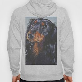 long haired Dachshund art portrait from an original painting by L.A.Shepard Hoody