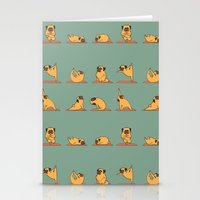 pug Stationery Cards featuring Pug Yoga by Huebucket
