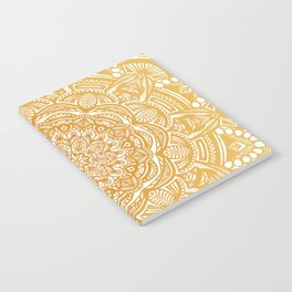 Golden Mustard Yellow Orange Ethnic Mandala Detailed Notebook