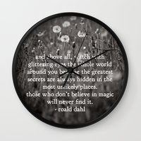 roald dahl Wall Clocks featuring roald dahl's magic by lissalaine