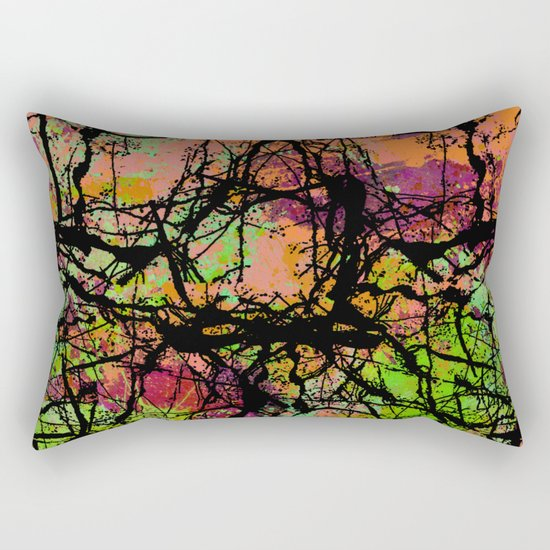 Cracks And Colour - Pastel orange, blue and green abstract with black marble effect Rectangular Pillow