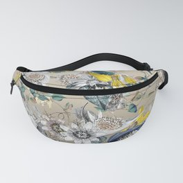 Exotic Elegant Fragrant Floral Garden in Gold Fanny Pack