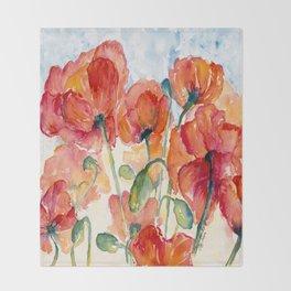 Tangerine Orange Poppy field WaterColor by CheyAnne Sexton Throw Blanket