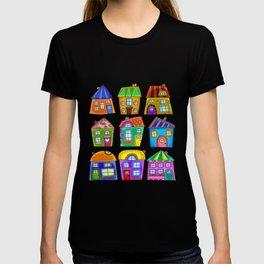 Colorful Doodle Quirky Detached Houses T-shirt