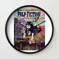 pulp fiction Wall Clocks featuring Pulp Fiction by Jessis Kunstpunkt.