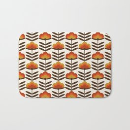 Boogie - retro florals minimal trendy 70s style throwback flower pattern Bath Mat