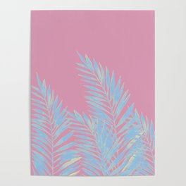 Palm Leaves Blue And Pink Poster