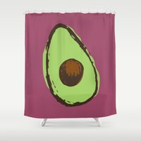 avocado Shower Curtains featuring avocado  by Marzipan