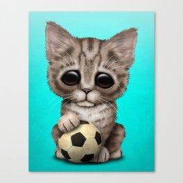 Cute Kitten With Football Soccer Ball Canvas Print