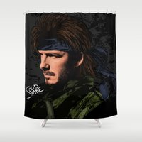 metal gear solid Shower Curtains featuring Solid Snake by 鋼の心❥MetalHeart
