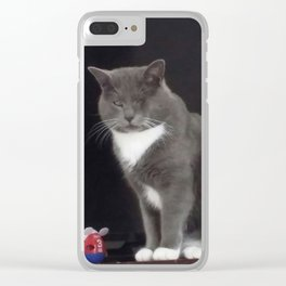 One-eyed Jack. Rescued Kitty. Scarred but Loved & Happy. Clear iPhone Case