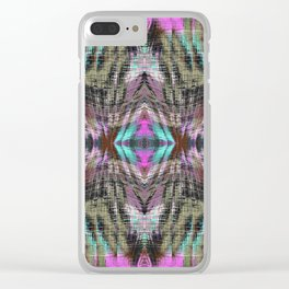 geometric symmetry pattern abstract background in pink blue brown Clear iPhone Case