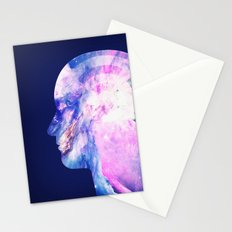 Abstract Space / Universe / Galaxy Face Silhouette  Stationery Cards