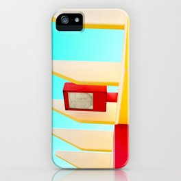 Architectural photography street lamp red+yellow / aqua sky iPhone Case