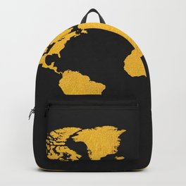 Golden World Map - Black Background Backpack