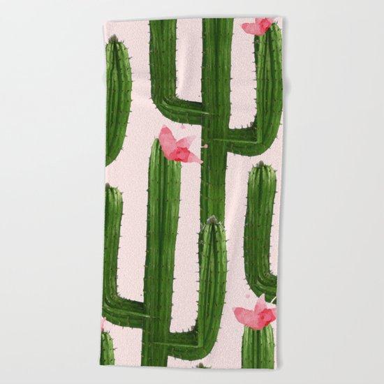 Happy Cacti #society6 #decor #buyart Beach Towel