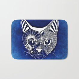 Cat Head Illustration Bath Mat