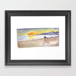 Golden Light at the Beach Framed Art Print