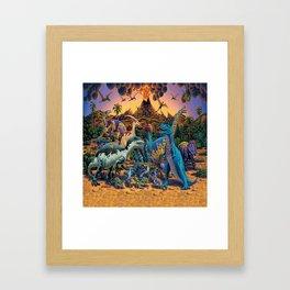 Dinosaurs flee the volcano Framed Art Print