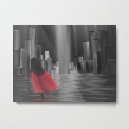 Girl With A Red Cape Metal Print